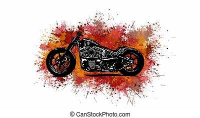 vidéo, couperet, tache, coloré, motocyclette