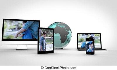 vidéo, de, famille, sur, multimédia, à