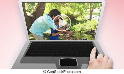 vidéo, de, familles, dans, a, parc