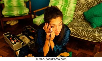 vidéo, demande, femme, eyeshdow, blogger, 4k