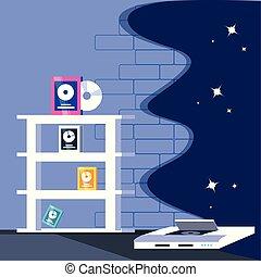 vidéo, divertissement, console, jeux, icônes