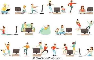 vidéo, ensemble, gens, jouer, élevé, jeux, caractères, technologie, technologies, dessin animé, heureux