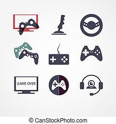 vidéo, ensemble, jeux, icône