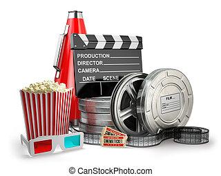 vidéo, film, cinéma, vendange, production, concept., filmer...