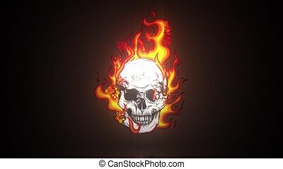 vidéo, flammes, crâne, animation