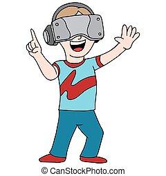 vidéo, gamer, réalité virtuelle