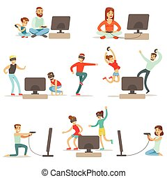 vidéo, gens, collection, jouer, élevé, jeux, caractères, technologie, technologies, dessin animé, heureux