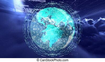 vidéo, globe, généré digitalement