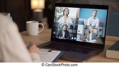 vidéo, groupe, avoir, conférence, business, ordinateur portable, partenaires