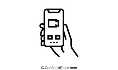 vidéo, icône, animation, ligne, appeler, téléphone