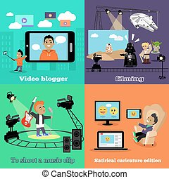 vidéo, industrie, blogger, filmer, conception, plat