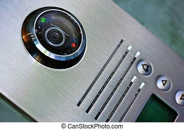 vidéo, interphone, dans, les, entrée, de, a, maison