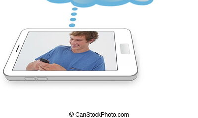 vidéo, jeune, smartpho, gens