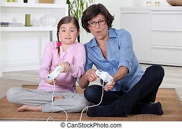 vidéo, jouer, fille, jeux, mère