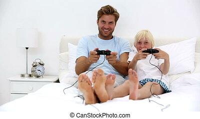 vidéo, jouer, père, jeux, fils