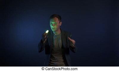 vidéo, lumières, magicien, homme