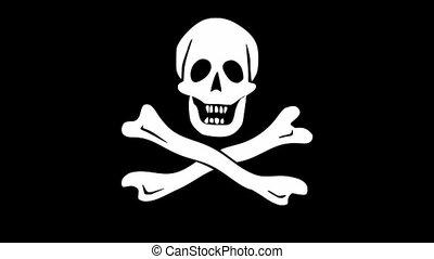 vidéo, motif, tissu, ondulé, os, pirate, drapeau blanc, traversé, crâne, fond, noir