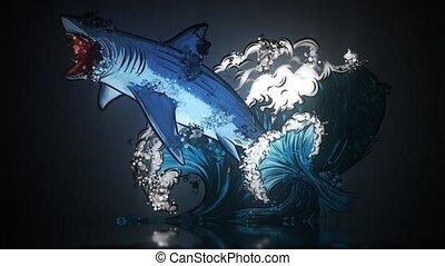 vidéo, mouth., requin, ouvert