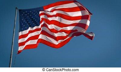 vidéo, mouvement, cinematic, waving., drapeau, américain, ...