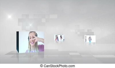 vidéo, musique, adolescents, jouer, da