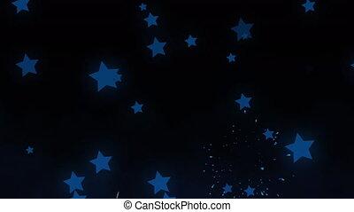 vidéo, noir, en mouvement, feux artifice, étoiles, ...