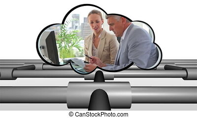 vidéo, nuage, business