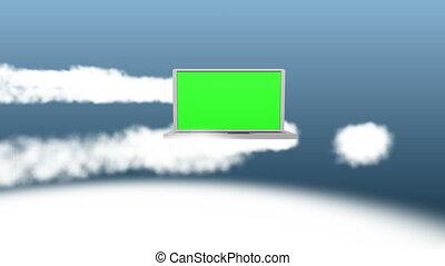 vidéo, ordinateur portable, nuages