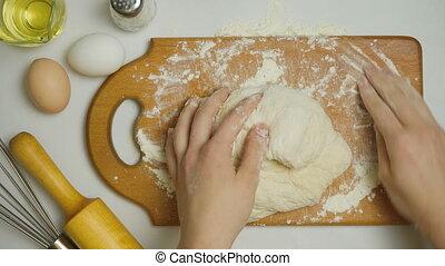 vidéo, pâte, kneads, girl, maison
