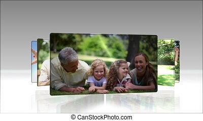 vidéo, parc, joyeux, famille