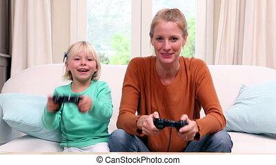 vidéo, petite fille, jeu, mignon, jouer