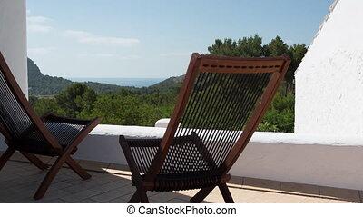vidéo, pont, ensoleillé, vide, chaises, loopable, terrasse