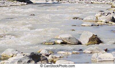 vidéo, river., georgia., eau, son, montagne