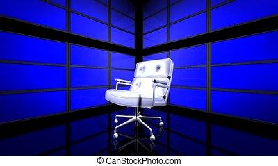 vidéo, salle, mur, fauteuil
