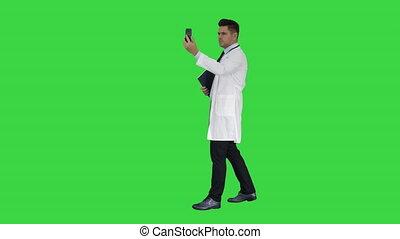 vidéo, sien, patient, docteur, chroma, écran, conversation, appeler, key., confection, vert, mâle