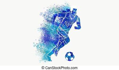 vidéo, sport, joueur football, balle, donner coup pied