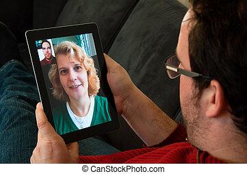 vidéo, téléphonie, sur, tablette numérique, pc