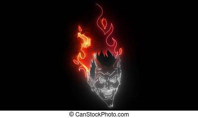 vidéo, tête, démon, néon, ou, mascotte, diable, numérique, ...