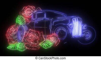 vidéo, tige, voiture, néon, garage, roses, vendange, numérique, chaud