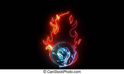 vidéo, unique, globe oculaire, néon, flammes, numérique, brûler