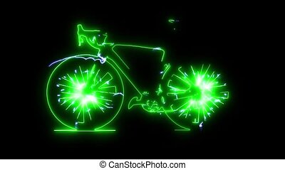vidéo, vélo, laser, animation, numérique