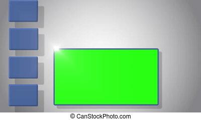 vidéo, vert, écran, social, m