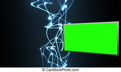 vidéo, vert clair, b, écrans