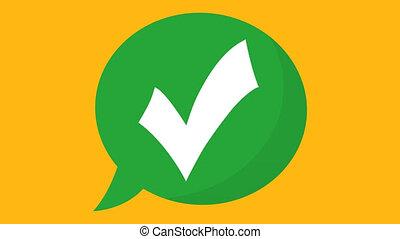 vidéo, yes;, chèque, icon., animation, 4k, vote, checkmark, fond, vert