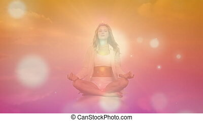 vidéo, yoga, en mouvement, femme, orange, engendré, exécuter, taches, digitalement, fond, incandescent, contre