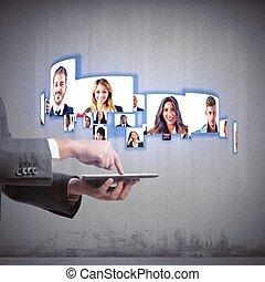 vidéoconférence, equipe affaires