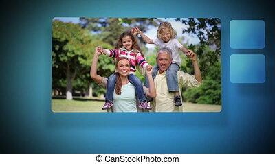 vidéos, joyeux, famille