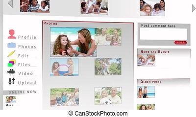vidéos, réseau, famille, social