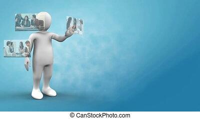 vidéos, robot, business, présentation