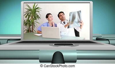 vidéos, travailler ensemble, médecins
