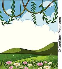 vid, colinas verdes, plantilla